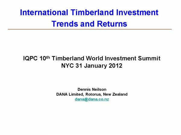 Cover image IQPC 10th Timberland World Investment Summit